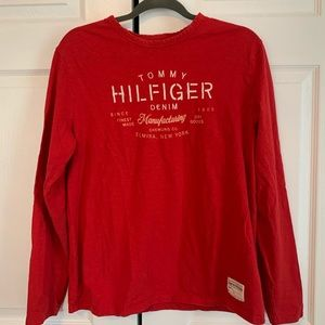 Tommy Hilfiger Denim Red Embroidered Long Sleeve
